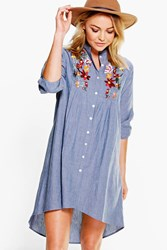 Boohoo Embroidered Denim Shirt Dress Mid Blue