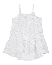 Milly Minis Chevron Crochet High Low Coverup Size 4 6 White