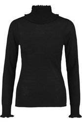 Goat Cindy Ruffle Trimmed Stretch Knit Sweater Black