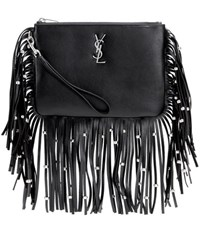 Saint Laurent Monogram Fringed Leather Clutch Black