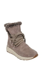 Earth Roamer Faux Fur Trim Boot Taupe Suede