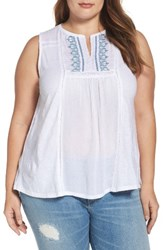 Lucky Brand Plus Size Women's Embroidered Mixed Media Tank Bright White