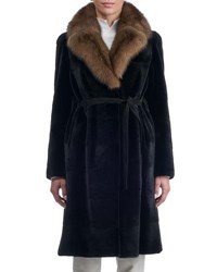 Gorski Belted Sheared Horizontal Mink Coat With Russian Sable Collar Black