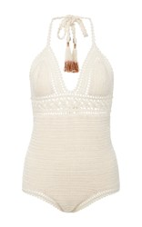 She Made Me Intricate Flower Crocheted Swimsuit Neutral