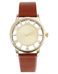 Asos Round Face Numbers Dial Watch Gold