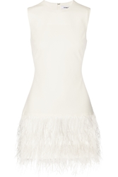 Elizabeth And James India Feather Trimmed Stretch Crepe Mini Dress