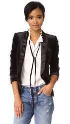 James Jeans Satin Combo Blazer Black Velvet