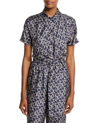 3.1 Phillip Lim Short Sleeve Printed Silk Blouse Phantom Blue