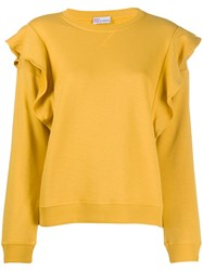Red Valentino Redvalentino Ruffle Detail Crew Neck Sweatshirt Yellow