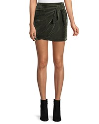 Cupcakes And Cashmere Koshi Draped Tie Front Velvet Mini Skirt Green