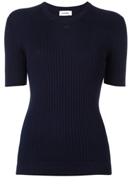 Courreges Ribbed Knit T Shirt Blue