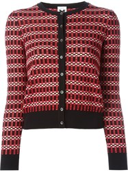 M Missoni Contrast Trim Plaid Button Down Cardigan Black