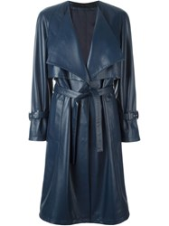 Drome Sheepskin Trench Coat Blue