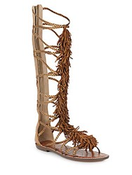 Sam Edelman Gia Fringed Knee High Metallic Leather Gladiator Sandals Chestnut