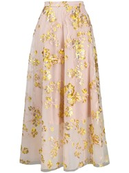 Delpozo Embroidered Full Skirt Pink