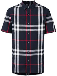 Burberry Shortsleeved Checked Shirt Blue