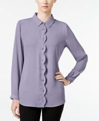Ny Collection Petite Scalloped Shirt Steel Lilac