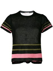 Red Valentino Colour Panel Knitted Top Black
