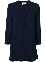 Salvatore Ferragamo Vintage 1970'S Collarless Flared Coat Blue
