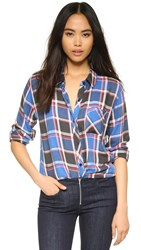 Rails Hunter Button Down Shirt Blue Red Black