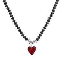 Martick Murano Heart And Crystal Pendant Necklace Cranberry