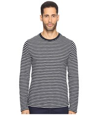 Vince Striped Long Sleeve Crew Neck T Shirt Coastal Pearl