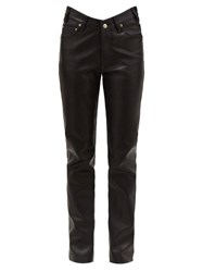 Balenciaga V Waist Leather Trousers Black