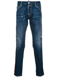 Dsquared2 Classic Kenny Jeans Cotton Polyester Calf Leather Blue