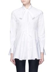 Co Neck Tie Tiered Seam Poplin Shirt White