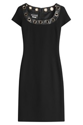 Boutique Moschino Cocktail Dress With Faux Leather Neckline Black