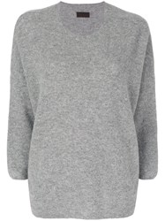 Oyuna Cropped Sleeve Pullover Women Cashmere One Size Grey
