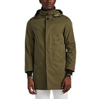Barneys New York Hooded Trench Coat Olive