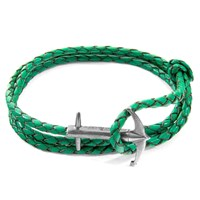 Anchor And Crew Fern Green Admiral Silver Braided Leather Bracelet Silver Green