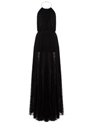 Maria Lucia Hohan Cleo Star Embroidered Halterneck Gown Black