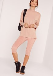 Missguided Faux Suede Cropped Leggings Pink Pink