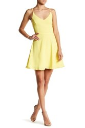Lush Lace Up Back Fit And Flare Dress Yellow