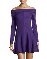 Halston Heritage Long Sleeve Off The Shoulder Ponte Dress Eggplant