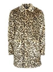 Topman Brown Leopard Print Faux Fur Overcoat