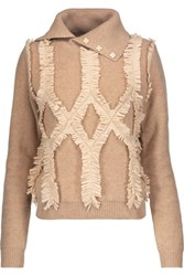 Jonathan Simkhai Embellished Fringed Wool Turtleneck Sweater Sand