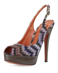 Peep Toe Knit Pump Purple Multi Missoni