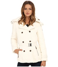 Cole Haan Down Peacoat With Removable Hood White Women's Coat