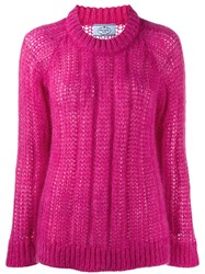 Prada Crew Neck Knitted Sweater Pink