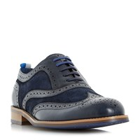 Dune Pudsey Leather And Suede Brogue Shoes Navy