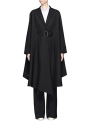 Valentino Virgin Wool Belted Ruffle Coat Black