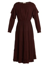 Masscob Square Neck Micro Checked Gauze Dress Burgundy