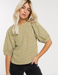 Pieces Top With Puff Sleeves In Yellow Check Multi