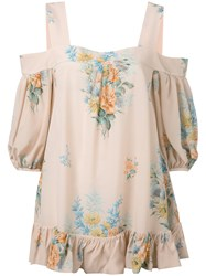 Alexander Mcqueen Off The Shoulder Floral Blouse Nude Neutrals
