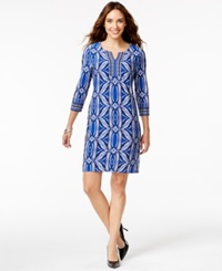 Jm Collection Petite Split Neck Sheath Dress Only At Macy's Blue Stamp