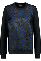 Markus Lupfer Metallic Jacquard Paneled Cotton Terry Sweatshirt Blue