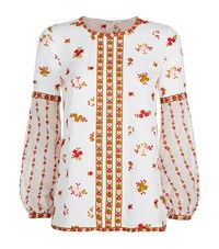 Andrew Gn Embroidered Balloon Sleeve Top Female White